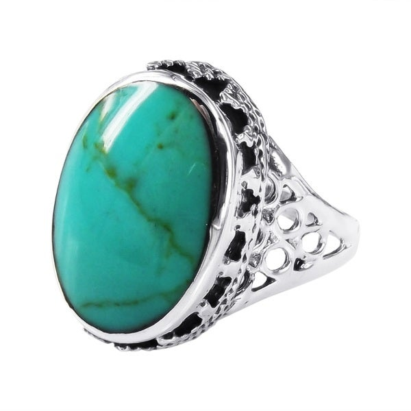 Handmade Gracious Oval Turquoise .925 Sterling Silver Ornate Ring (Thailand)