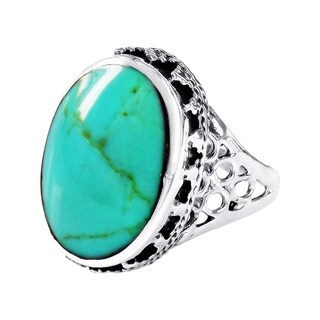 Handmade Gracious Oval Turquoise .925 Sterling Silver Ornate Ring (Thailand) (5 options available)