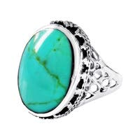 Handmade Gracious Oval Turquoise Sterling Silver Ornated Ring (Thailand)