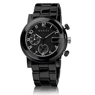 Gucci Men's YA101352 'Gucci G Chrono' Swiss Quartz Black Ceramic Watch