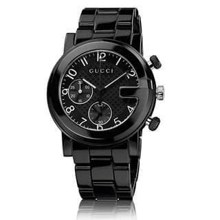 Gucci Men's YA101352 'Gucci G Chrono' Swiss Quartz Black Ceramic Watch|https://ak1.ostkcdn.com/images/products/8973621/Gucci-Mens-Black-Ceramic-Chronograph-Watch-P16181667.jpg?impolicy=medium