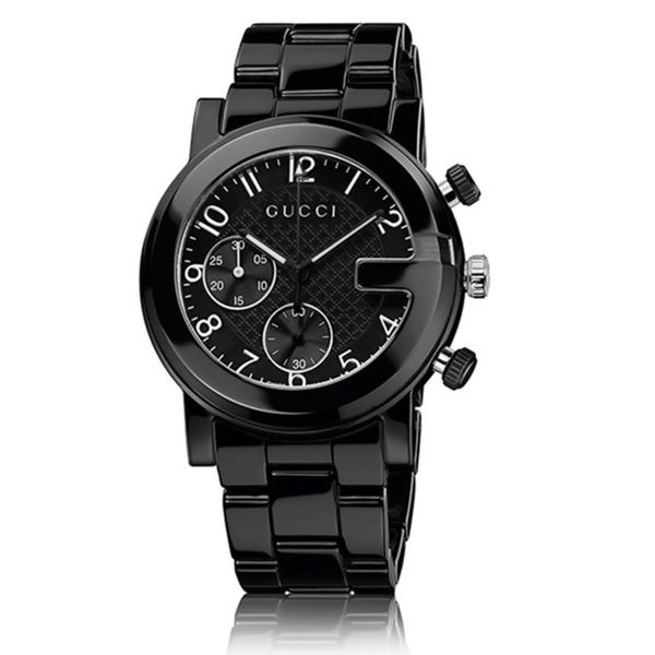 9cfd8b811f5 Shop Gucci Men s YA101352  Gucci G Chrono  Swiss Quartz Black Ceramic Watch  - Free Shipping Today - Overstock - 8973621