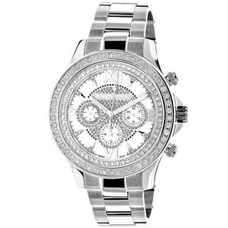 Luxurman Men's White Gold Plated Diamond 2ct Watch