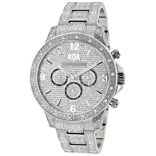 Luxurman Men's 1.25-carat Fully Iced Out Diamond Watch