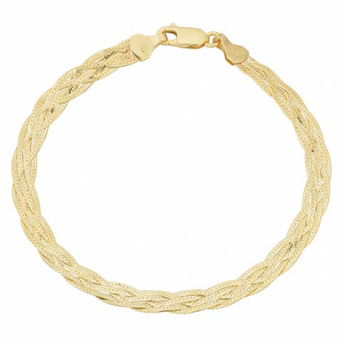 Fremada 10k Yellow Gold 5-strand Braided Herringbone Bracelet (7.5 inch)