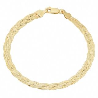 Fremada 10k Yellow Gold 5-strand Braided Herringbone Bracelet (7.5 inch)