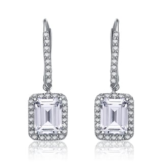 Collette Z Sterling Silver Cubic Zirconia Asscher-cut Dangling Earrings