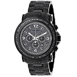 Luxurman Men's Fully Iced Out 4.25ct Oversized Black Diamond Watch with Metal Band and Extra Leather