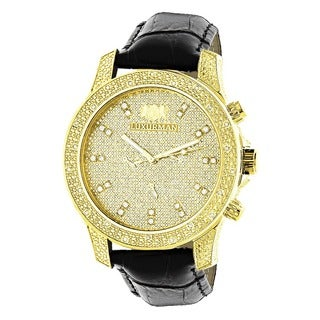 Luxurman Men's Yellow Gold-plated 0.5ct Diamond Watch with Metal Band and Extra Leather Straps