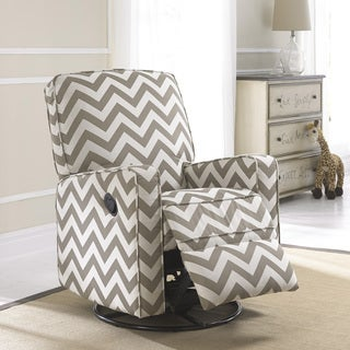 Crawford Taupe And Cream Fabric Modern Nursery Swivel Glider Recliner Chair