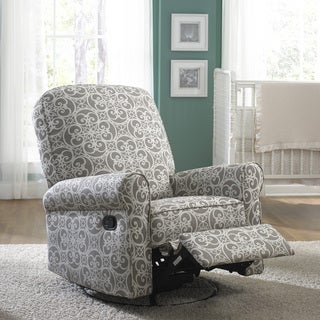 Superbe Jackson Grey And Cream Fabric Nursery Swivel Glider Recliner Chair