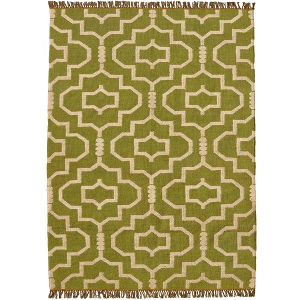 Hand-woven Green Jute/Wool Flat Weave Rug - 8' x 11'