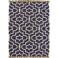 Hand-woven Blue Jute/Wool Flat Weave Rug - 5' x 8'