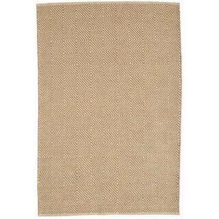 Hand-woven Beige Jute Rug (5' x 8')