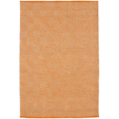 Hand-woven Orange Jute Rug (4' x 6') - 4' x 6'