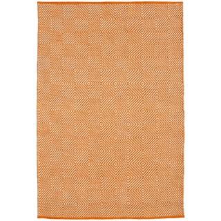 Hand-woven Orange Jute Rug (5' x 8')