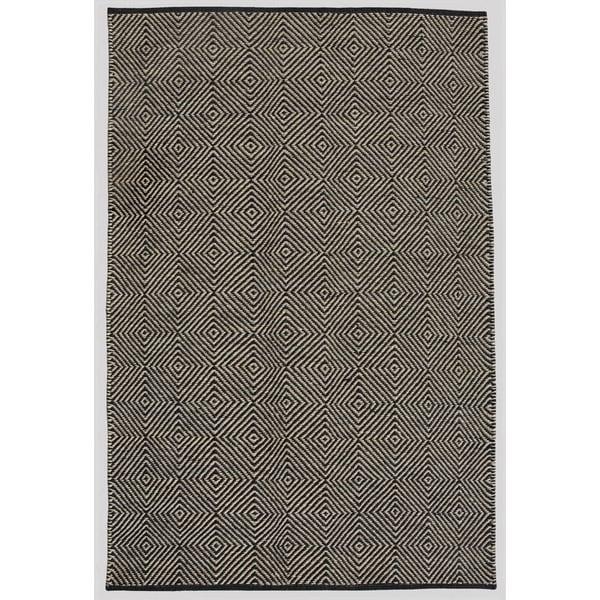 Hand-woven Black Jute Rug (6' x 9')