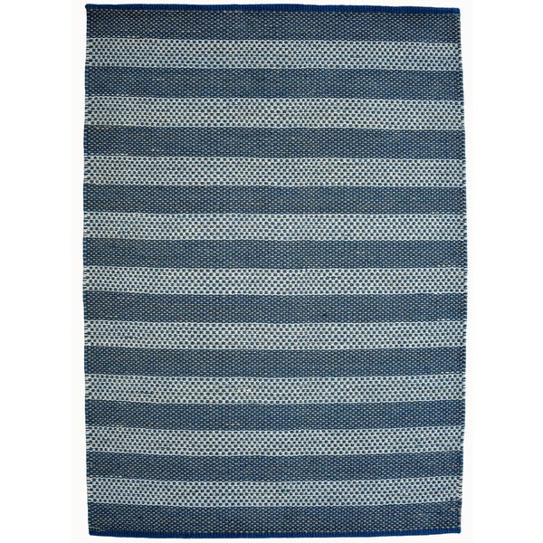 Hand-woven Blue Contemporary Tie Die Rug (5' x 8') - 5' x 8'