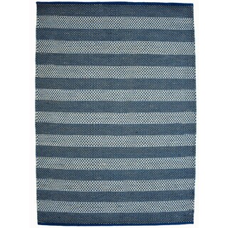 Hand-woven Blue Contemporary Tie Die Rug (5' x 8')