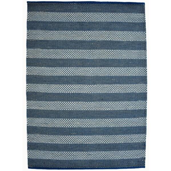 Hand-woven Blue Contemporary Tie Die Rug (8' x 11') - 8' x 11'