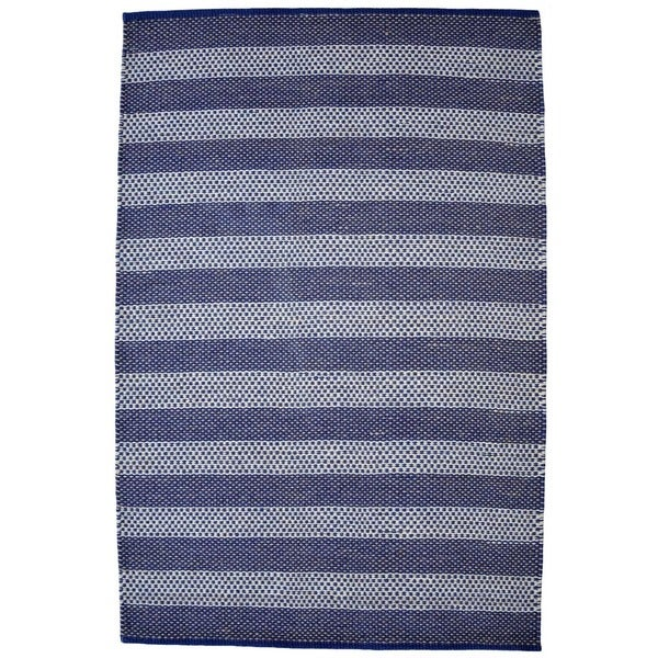 Hand-woven Blue Contemporary Tie Die Rug - 5' x 8'