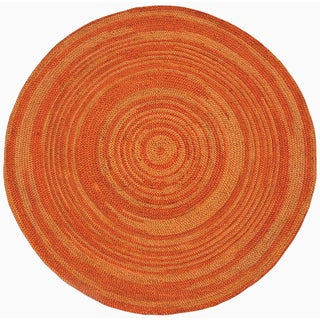 Hand-woven Orange Abrush Braided Jute Rug (8' x 8' Round)