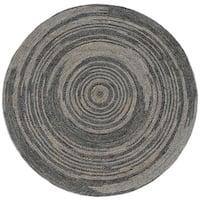 Hand-woven Grey Abrush Braided Jute Rug (6' x 6' Round)