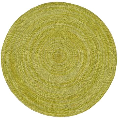 Hand-woven Green Abrush Braided Jute Rug (6' x 6' Round)