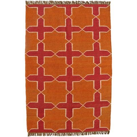 Hand-woven Orange Jute/Wool Flat Weave Rug - 5' x 8'