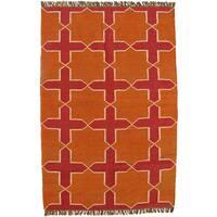 Hand-woven Orange Jute/Wool Flat Weave Rug (6' x 9') - 6' x 9'