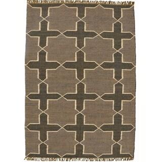 Hand-woven Grey Jute/Wool Flat Weave Rug (4' x 6')