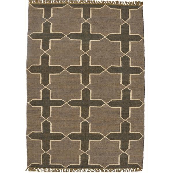 Hand-woven Grey Jute/Wool Flat Weave Rug (5' x 8')