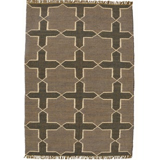 Hand-woven Grey Jute/Wool Flat Weave Rug (6' x 9')