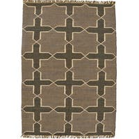 Hand-woven Grey Jute/Wool Flat Weave Rug - 6' x 9'