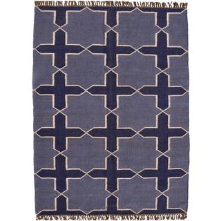 Hand-woven Blue Jute/Wool Flat Weave Rug (4' x 6')