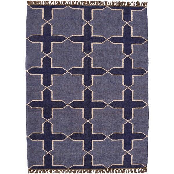 Hand-woven Blue Jute/Wool Flat Weave Rug (8' x 11')