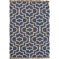 Hand-woven Blue Jute/Wool Flat Weave Rug - 4' x 6'