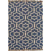 Hand-woven Blue Jute/Wool Flat Weave Rug (5' x 8') - 5' x 8'