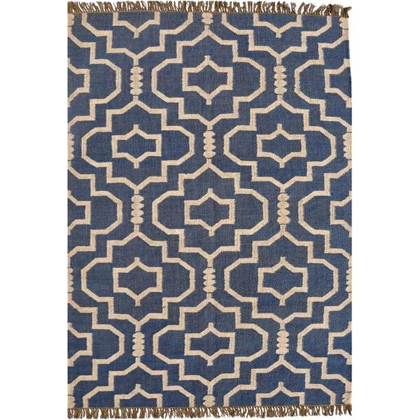 Hand-woven Blue Jute/Wool Flat Weave Rug (6' x 9')