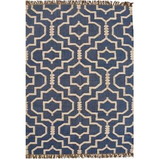 Hand-woven Blue Jute/Wool Flat Weave Rug (6' x 9') - 6' x 9'