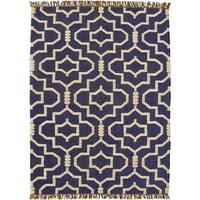 Hand-woven Blue Jute/Wool Flat Weave Rug - 6' x 9'