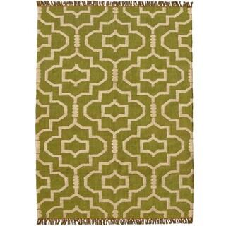 Hand-woven Green Jute/Wool Flat Weave Rug (4' x 6')