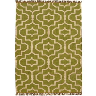 Hand-woven Green Jute/Wool Flat Weave Rug - 5' x 8'