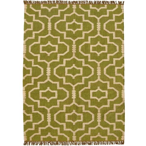 Hand-woven Green Jute/Wool Flat Weave Rug (5' x 8')