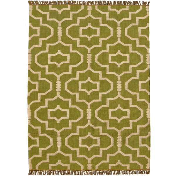 Hand-woven Green Jute/Wool Flat Weave Rug (6' x 9') - 6' x 9'