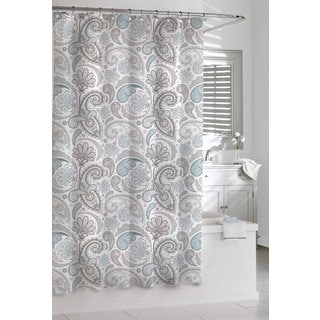Garden Paisley Blue Grey Shower Curtain - Free Shipping On Orders ...