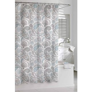 beige and gray shower curtain. Garden Paisley Blue Grey Shower Curtain Curtains For Less  Overstock com Vibrant Fabric