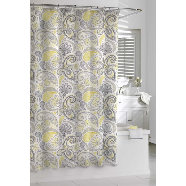 garden paisley yellow and grey shower curtain free