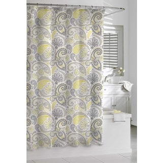 Garden Paisley Yellow and Grey Shower Curtain