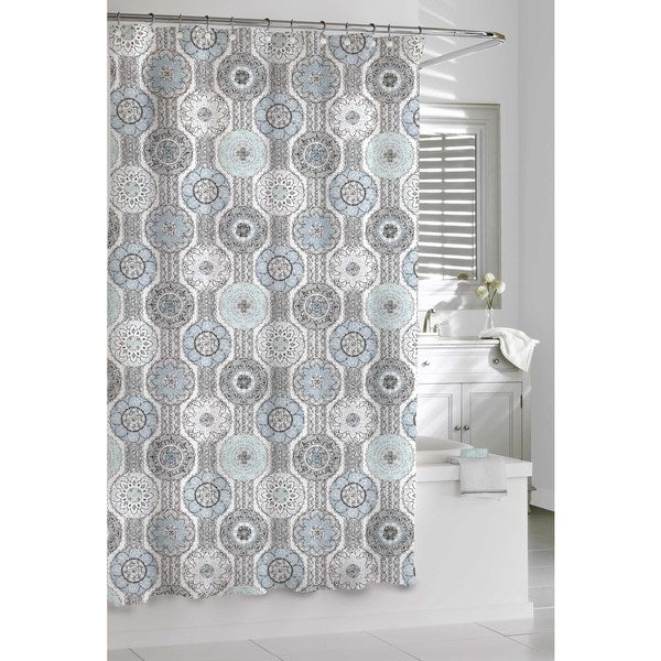 Mosaic Blue And Grey Shower Curtain